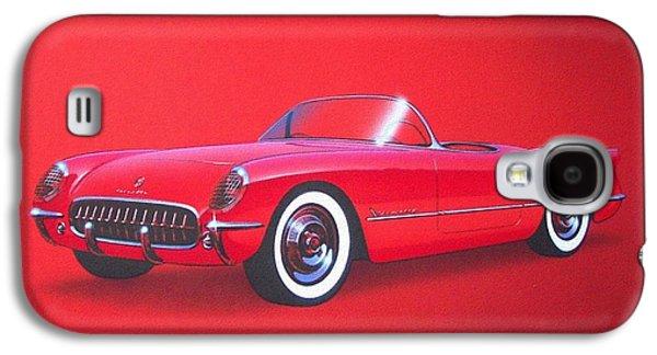 1953 Corvette Classic Vintage Sports Car Automotive Art Galaxy S4 Case by John Samsen