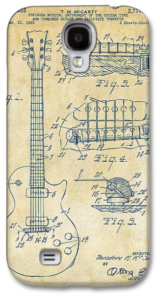 Engineer Galaxy S4 Cases - 1955 McCarty Gibson Les Paul Guitar Patent Artwork Vintage Galaxy S4 Case by Nikki Marie Smith
