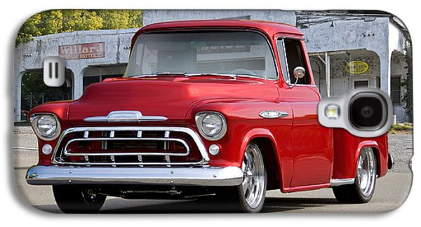 Slam Galaxy S4 Cases - 1957 Chevrolet Custom Stepside Pickup Galaxy S4 Case by Dave Koontz