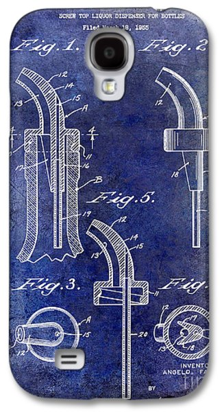 Pour Photographs Galaxy S4 Cases - 1958 Liquor Bottle Pour Patent Blue Galaxy S4 Case by Jon Neidert