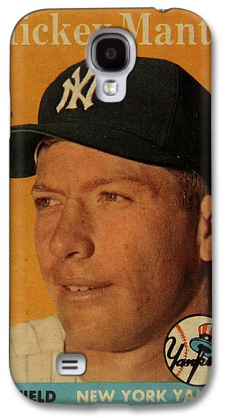 1958 Topps Baseball Mickey Mantle Card Vintage Poster Galaxy S4 Case by Design Turnpike