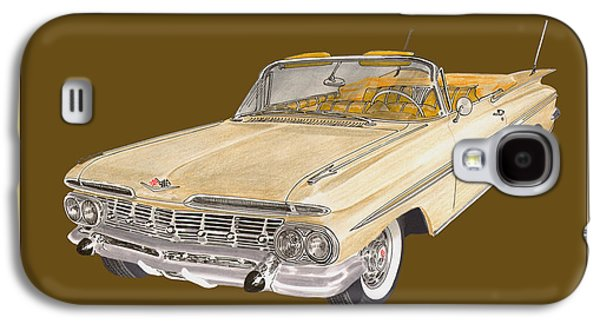 Basic Drawings Galaxy S4 Cases - 1959 Chevrolet Impala Convertible Galaxy S4 Case by Jack Pumphrey