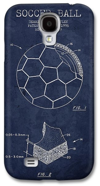 Technical Drawings Galaxy S4 Cases - 1996 Soccer Ball Patent Drawing - Navy Blue - NB Galaxy S4 Case by Aged Pixel