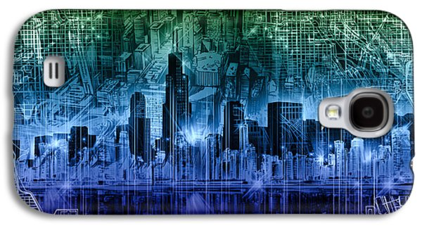 Illinois Print Digital Galaxy S4 Cases - Chicago Skyline Abstract Galaxy S4 Case by MB Art factory
