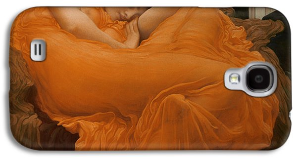 Comfort Paintings Galaxy S4 Cases - Flaming June Galaxy S4 Case by Frederic Leighton