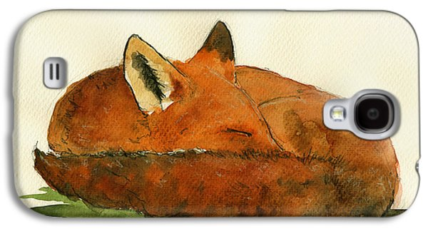 Fox Sleeping Painting Galaxy S4 Case by Juan  Bosco