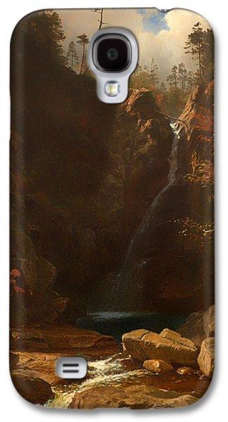 Beautiful Creek Paintings Galaxy S4 Cases - Glen Ellis Falls Galaxy S4 Case by Albert Bierstadt