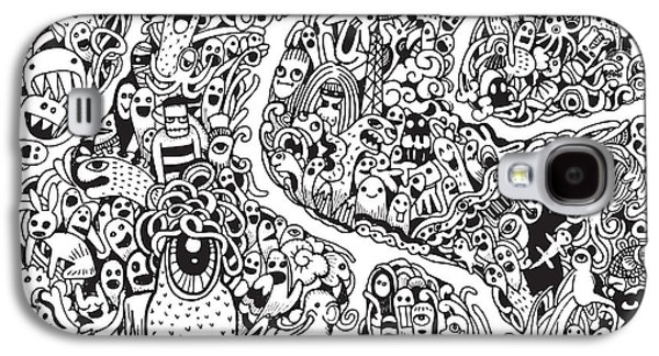 Abstract Collage Drawings Galaxy S4 Cases - Hipster Doodle Monster Collage Background Galaxy S4 Case by Pakpong Pongatichat