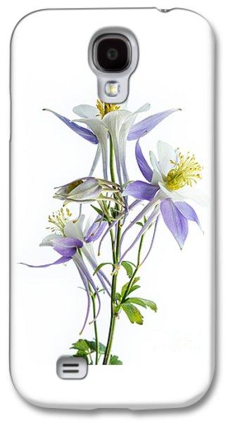Botanical Galaxy S4 Cases - Lilac Aquilegia Galaxy S4 Case by Ann Garrett