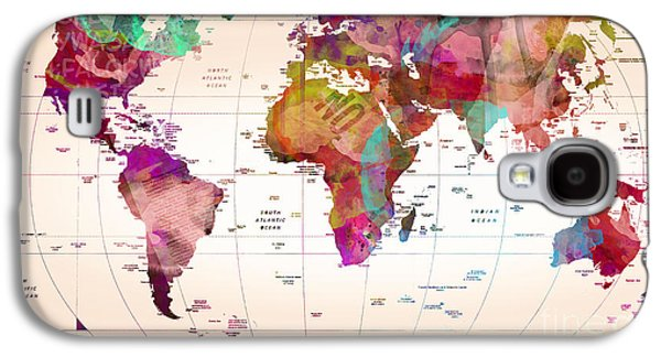 Map Of The World   Galaxy S4 Case by Mark Ashkenazi