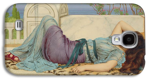 Alluring Paintings Galaxy S4 Cases - Mischief and Repose Galaxy S4 Case by John William Godward