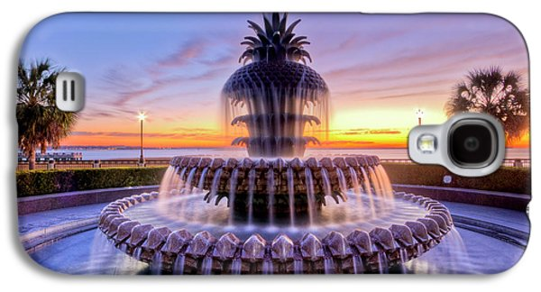 Beautiful Photographs Galaxy S4 Cases - Pineapple Fountain Charleston SC Sunrise Galaxy S4 Case by Dustin K Ryan