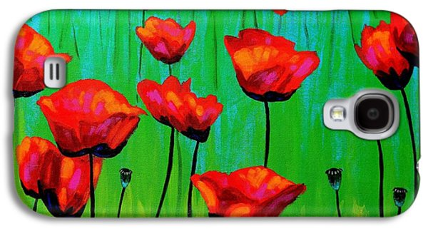 Impressionism Acrylic Prints Galaxy S4 Cases - Poppy Dance Galaxy S4 Case by John  Nolan