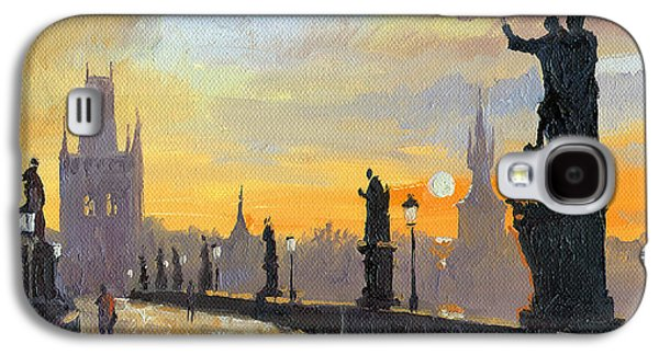 City Scenes Paintings Galaxy S4 Cases - Prague Charles Bridge 01 Galaxy S4 Case by Yuriy  Shevchuk
