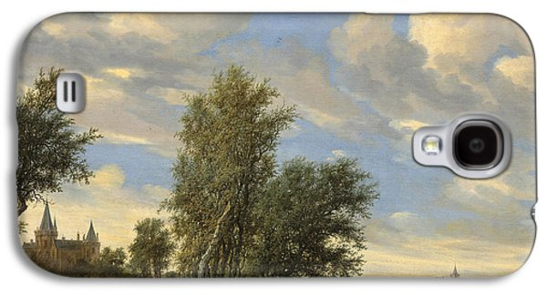 Boats In Water Paintings Galaxy S4 Cases - River Landscape With Ferry Galaxy S4 Case by Salomon Van Ruysdael