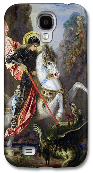 Knights Castle Paintings Galaxy S4 Cases - Saint George and the Dragon Galaxy S4 Case by Gustave Moreau
