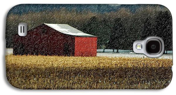 Snowy Red Barn In Winter Galaxy S4 Case by Lois Bryan