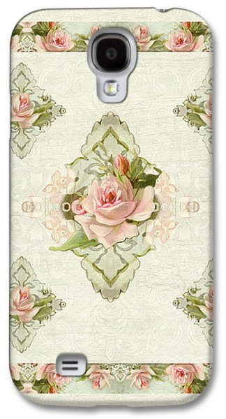 Upscale Galaxy S4 Cases - Summer at the Cottage - Vintage Style Damask Roses Galaxy S4 Case by Audrey Jeanne Roberts