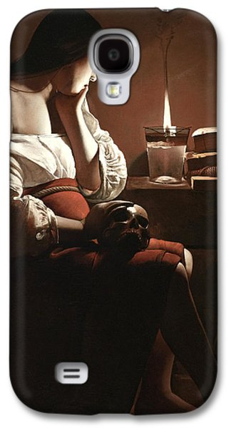 Creepy Paintings Galaxy S4 Cases - The Magdalen with the Smoking Flame Galaxy S4 Case by Georges de la Tour
