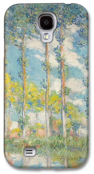 Blue And Green Galaxy S4 Cases - The Poplars Galaxy S4 Case by Claude Monet