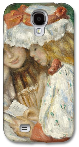 Novel Paintings Galaxy S4 Cases - Two Girls Reading Galaxy S4 Case by Pierre Auguste Renoir
