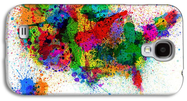 United States Paint Splashes Map Galaxy S4 Case by Michael Tompsett