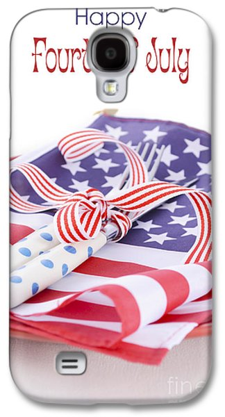 American Independance Galaxy S4 Cases - USA party table place setting with flag on white wood table.  Galaxy S4 Case by Milleflore Images