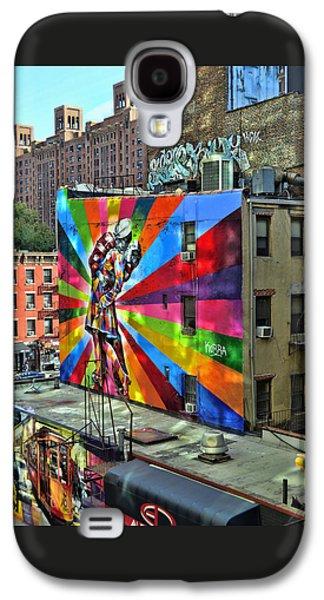 Landmarks Photographs Galaxy S4 Cases - V - J Day Mural by Eduardo Kobra Galaxy S4 Case by Allen Beatty