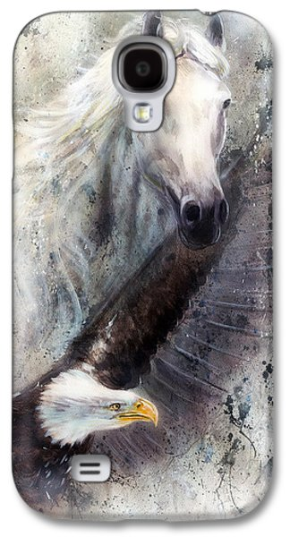 Black Bird.flying Paintings Galaxy S4 Cases - White Horse With A Flying Eagle Beautiful Painting Illustration Galaxy S4 Case by Jozef Klopacka