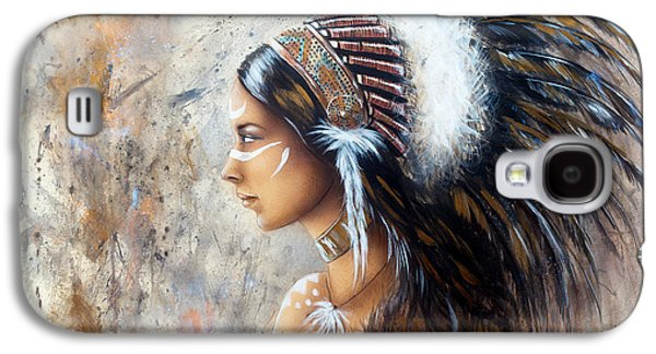 Native American Spirit Portrait Paintings Galaxy S4 Cases - Young Indian Woman Wearing A Big Feather Headdress A Profile Portrait On Structured Abstract Backgr Galaxy S4 Case by Jozef Klopacka