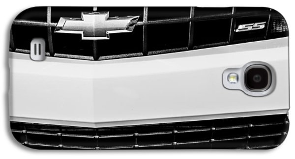 Transportation Photographs Galaxy S4 Cases - 2010 Chevrolet Nickey Camaro SS Grille Emblem -0078bw Galaxy S4 Case by Jill Reger