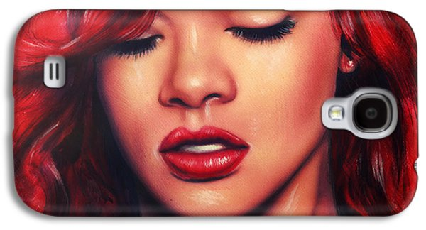 beautiful airbrush portrait of Rihanna with red hair and a face close up Galaxy S4 Case by Jozef Klopacka