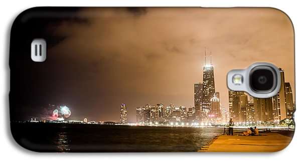 4th July Galaxy S4 Cases - Chicago Skyline Fireworks Galaxy S4 Case by Anthony Doudt