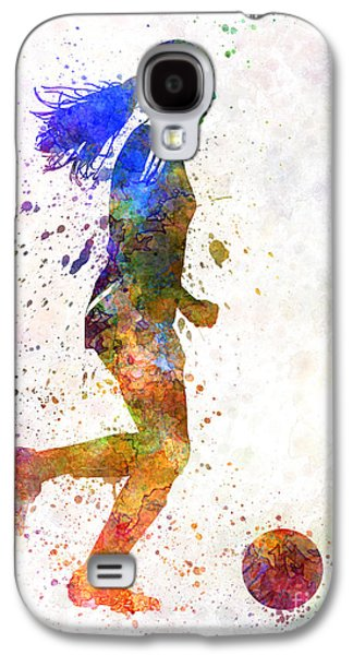 Juggling Galaxy S4 Cases - Girl playing soccer football player silhouette Galaxy S4 Case by Pablo Romero