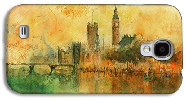 London Watercolor Painting Galaxy S4 Case by Juan  Bosco