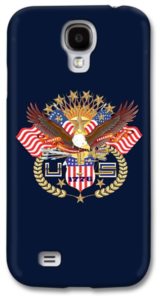 4th July Mixed Media Galaxy S4 Cases - Patriotic America Mixed Designs W-Transparent Back Pick your color Galaxy S4 Case by Bill Campitelle
