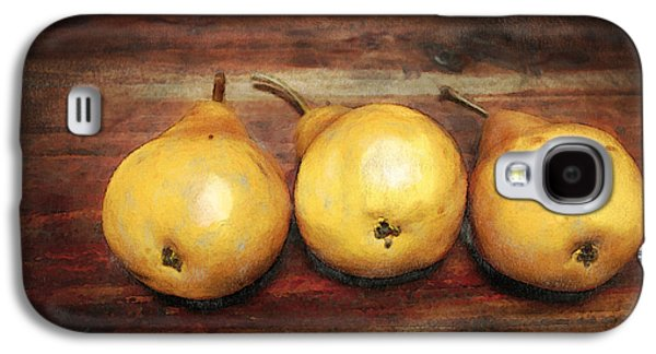 Food Galaxy S4 Cases - 3 Pears on a Wooden Table Galaxy S4 Case by Julius Reque