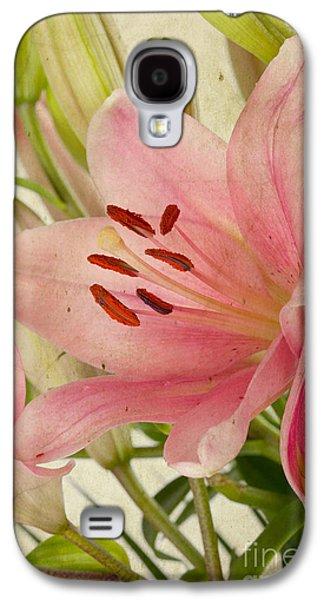 Retro Antique Galaxy S4 Cases - Pink Lilies Galaxy S4 Case by Nailia Schwarz