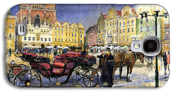 Cab Galaxy S4 Cases - Prague Old Town Square Galaxy S4 Case by Yuriy  Shevchuk