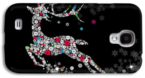 Graphic Mixed Media Galaxy S4 Cases - Reindeer design by snowflakes Galaxy S4 Case by Setsiri Silapasuwanchai