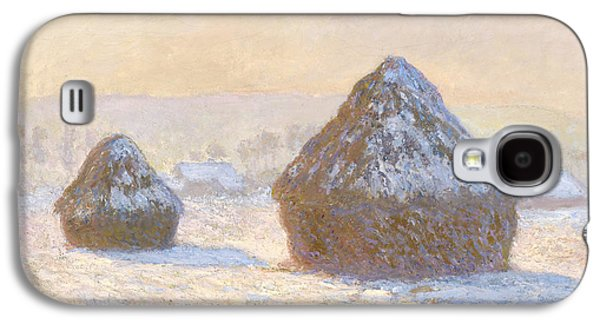 Winter Light Paintings Galaxy S4 Cases - Wheatstacks Galaxy S4 Case by Claude Monet