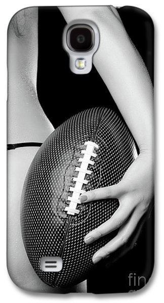 Sweating Photographs Galaxy S4 Cases - Woman with a Football Galaxy S4 Case by Oleksiy Maksymenko