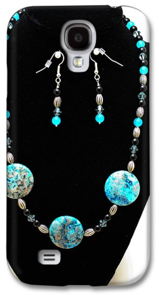Silver Turquoise Jewelry Galaxy S4 Cases - 3517 Crazy Lace Agate Set Galaxy S4 Case by Teresa Mucha