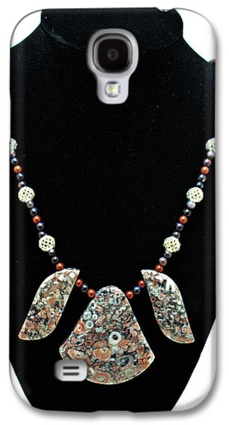 3521 Crinoid Fossil Jasper Necklace Galaxy S4 Case by Teresa Mucha