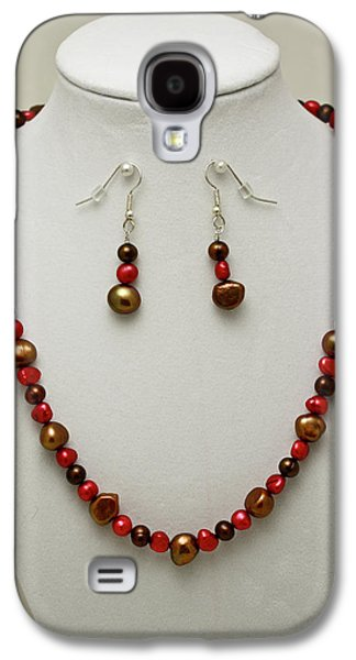 Gold Earrings Galaxy S4 Cases - 3536 Freshwater Pearl Necklace and Earring Set Galaxy S4 Case by Teresa Mucha