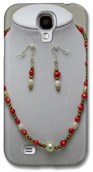 Handmade Jewelry Jewelry Galaxy S4 Cases - 3539 Pearl Necklace and Earring Set Galaxy S4 Case by Teresa Mucha