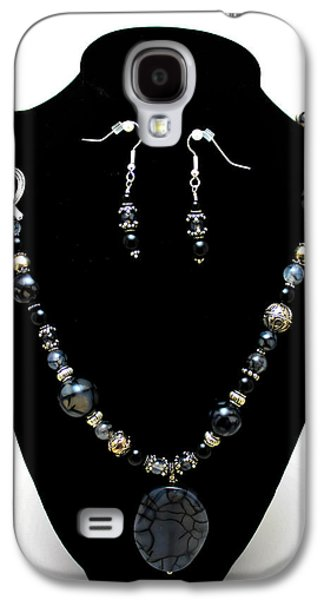 Design Jewelry Galaxy S4 Cases - 3545 Black Cracked Agate Necklace and Earring Set Galaxy S4 Case by Teresa Mucha