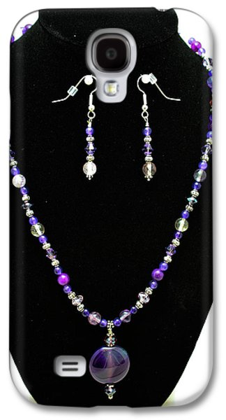 Design Jewelry Galaxy S4 Cases - 3546 Purple Veined Agate Set Galaxy S4 Case by Teresa Mucha
