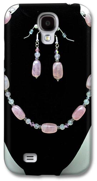 Design Jewelry Galaxy S4 Cases - 3558 Rose Quartz Set Galaxy S4 Case by Teresa Mucha