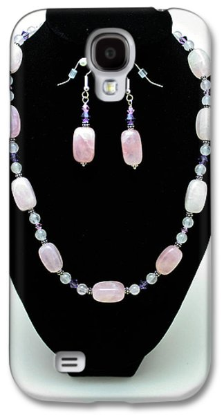 Design Jewelry Galaxy S4 Cases - 3560 Rose Quartz Necklace and Earrings Set Galaxy S4 Case by Teresa Mucha